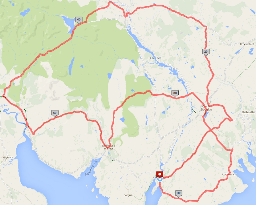 Galloway ReCycle Sportive Long Route Map